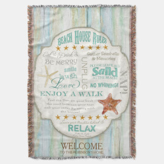 Beach House Rules Seashore Cottage Personalized Throw Blanket