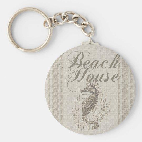 Beach House Seahorse Sandy Coastal Decor Key Ring