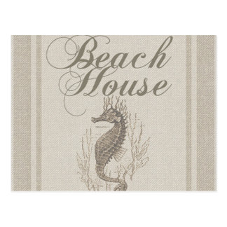 Beach House Seahorse Sandy Coastal Decor Postcard