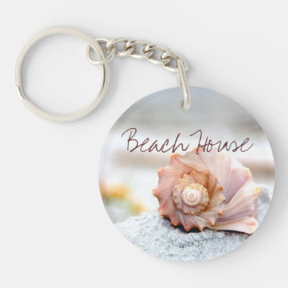 Beach House Seashell Keychain