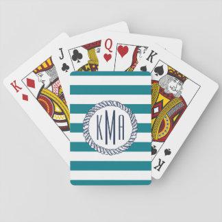 Beach House Teal Stripe & Nautical Navy Monogram Playing Cards