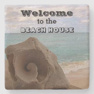 Beach House Welcome Seashell Nautical Ocean Stone Coaster