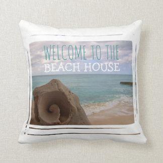 Beach House Welcome Seashell Nautical Theme Cushion
