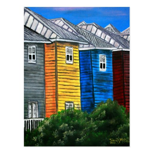 beach houses drawing illustration art gifts postcard