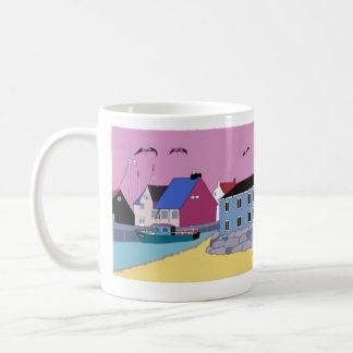 beach hut 2 basic white mug
