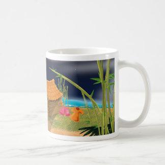Beach Hut at night Basic White Mug