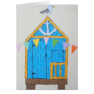 beach hut greetings card