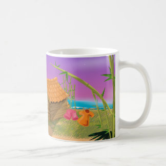 Beach Hut on moonlit beach Basic White Mug