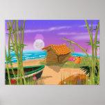 """""""Beach Hut on moonlit beach"""" """"beach hut"""" """"cartoon Poster"""