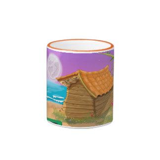 Beach Hut on moonlit beach Ringer Mug