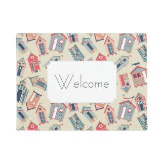 Beach Hut Pattern | Add Your Text Doormat