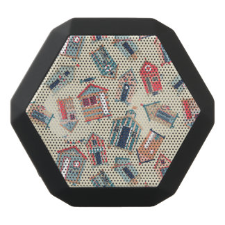 Beach Hut Pattern Black Bluetooth Speaker