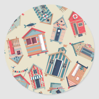 Beach Hut Pattern Classic Round Sticker
