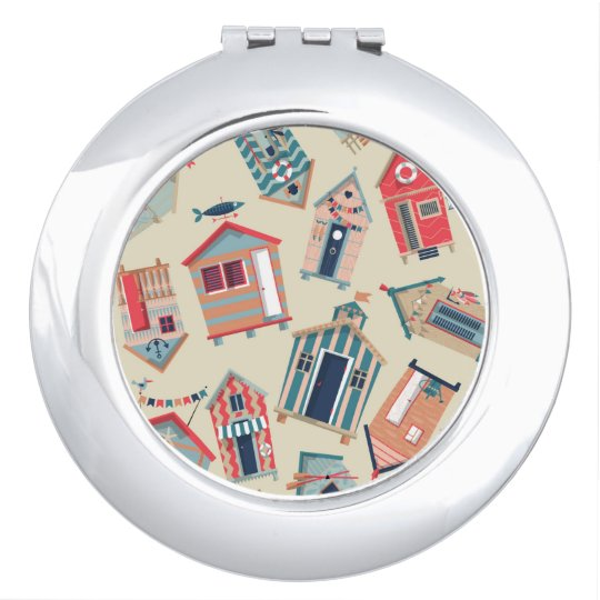 Beach Hut Pattern Compact Mirror