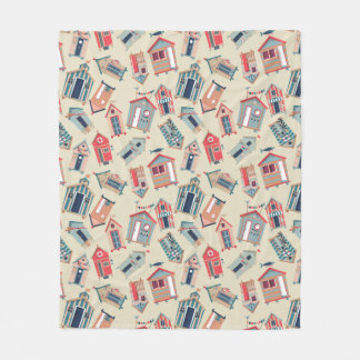 Beach Hut Pattern Fleece Blanket