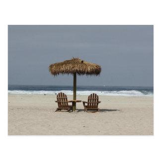 beach hut postcard