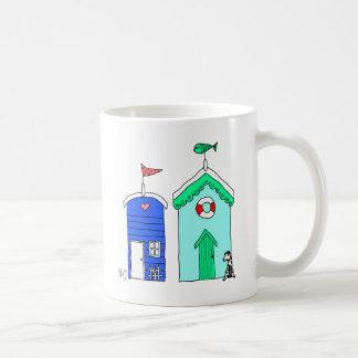 Beach Huts 2 Illustration Basic White Mug