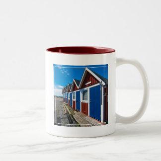 Beach Huts 3 Two-Tone Coffee Mug