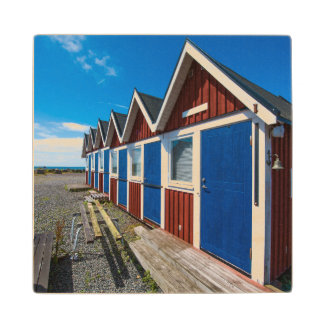 Beach Huts 3 Wood Coaster