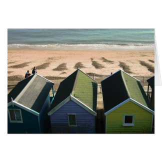 Beach huts and blue skies english seaside photo card