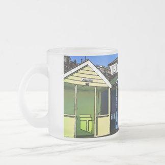Beach huts and blue skies english seaside photo frosted glass mug