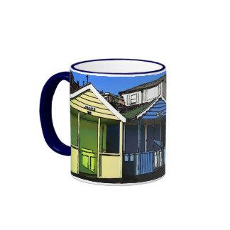 Beach huts and blue skies english seaside photo ringer mug
