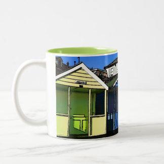 Beach huts and blue skies english seaside photo Two-Tone mug