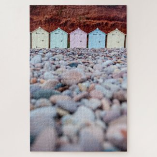 Beach Huts and Pebbles Jigsaw Puzzle