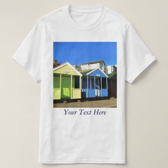 Beach huts blue skies english seaside photo T-Shirt