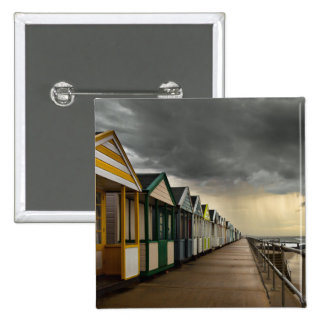 Beach Huts In A Summer Storm | Southwold 15 Cm Square Badge