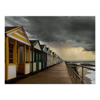 Beach Huts In A Summer Storm   Southwold Poster