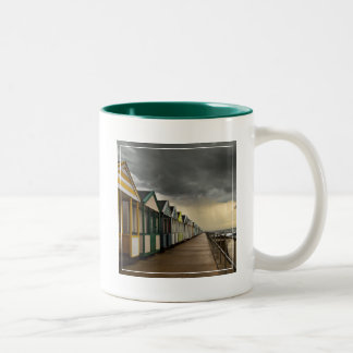 Beach Huts In A Summer Storm | Southwold Two-Tone Coffee Mug