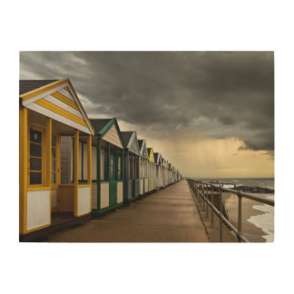 Beach Huts In A Summer Storm | Southwold Wood Print