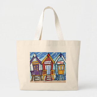 Beach Huts Large Tote Bag