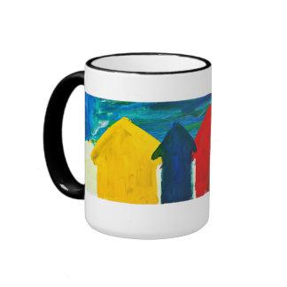 Beach huts painting ringer mug