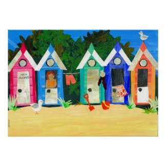 'Beach Huts' Poster