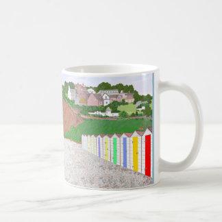 Beach huts scene, option to add name basic white mug