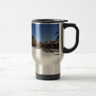 Beach huts stainless steel travel mug