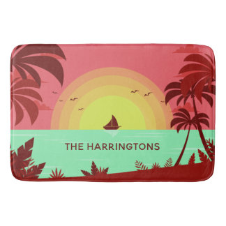 Beach Illustration custom name bath mats
