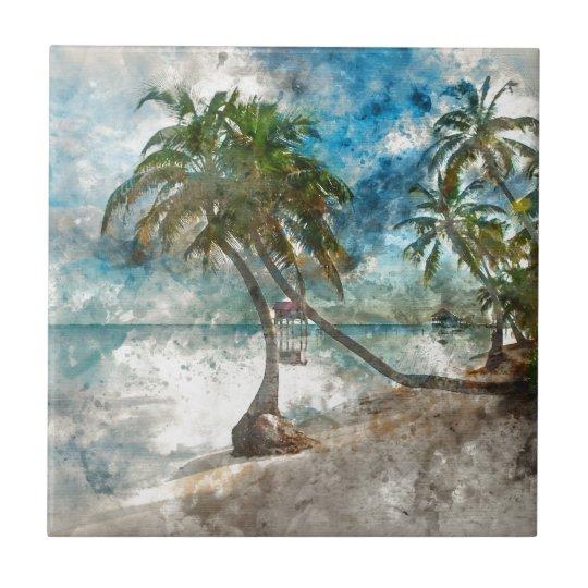 Beach in Ambergris Caye Belise Small Square Tile