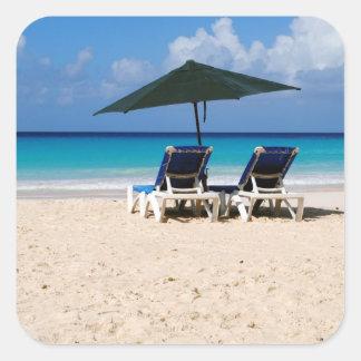 Beach in Barbados Square Sticker