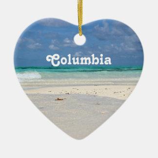 Beach in Colombia Ceramic Heart Decoration
