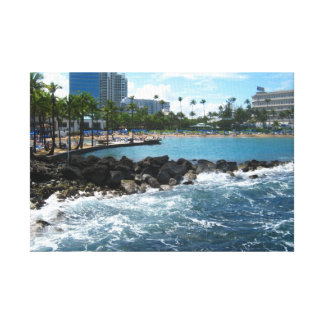 Beach in San Juan, Puerto Rico Stretched Canvas Print