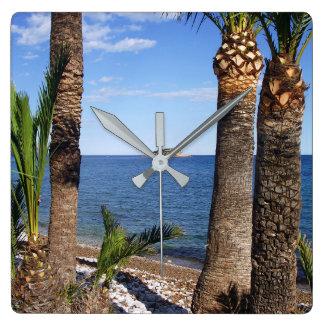 Beach in the Albir, Altea, Alicante, Spain Square Wall Clock