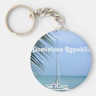 Beach in the Dominican Basic Round Button Key Ring