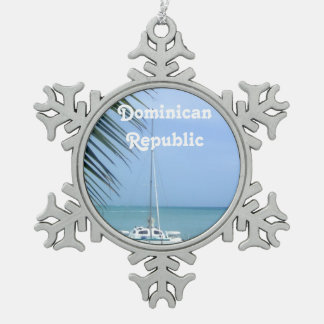 Beach in the Dominican Snowflake Pewter Christmas Ornament