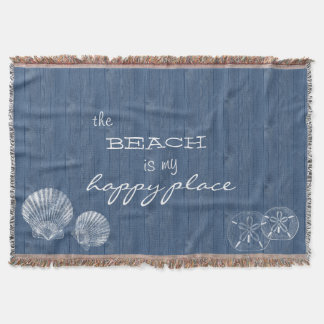 Beach is my Happy Place Shell Blue Wood Blanket