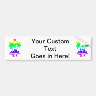beach island houses rainbow invert.png car bumper sticker
