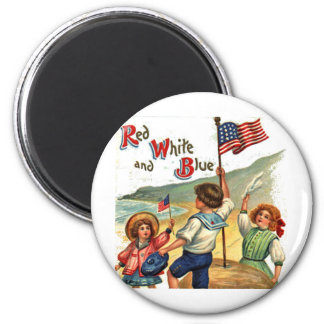 Beach Kids July 4th Vintage Postcard Art 6 Cm Round Magnet
