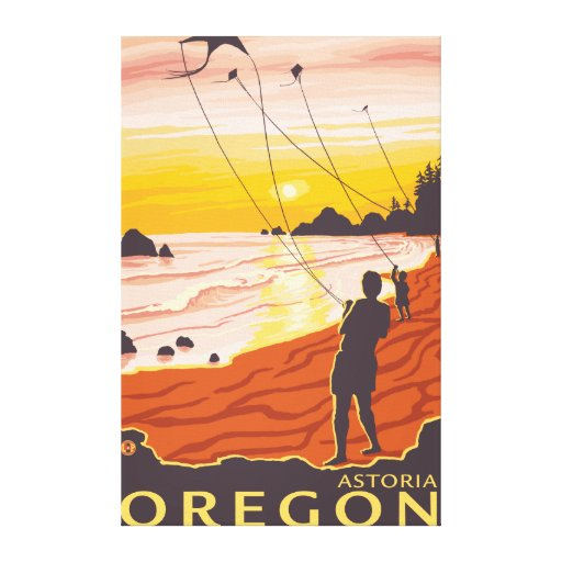 Beach & Kites - Astoria, Oregon Gallery Wrapped Canvas